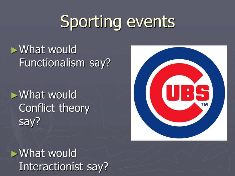 Sporting events What would Functionalism say
