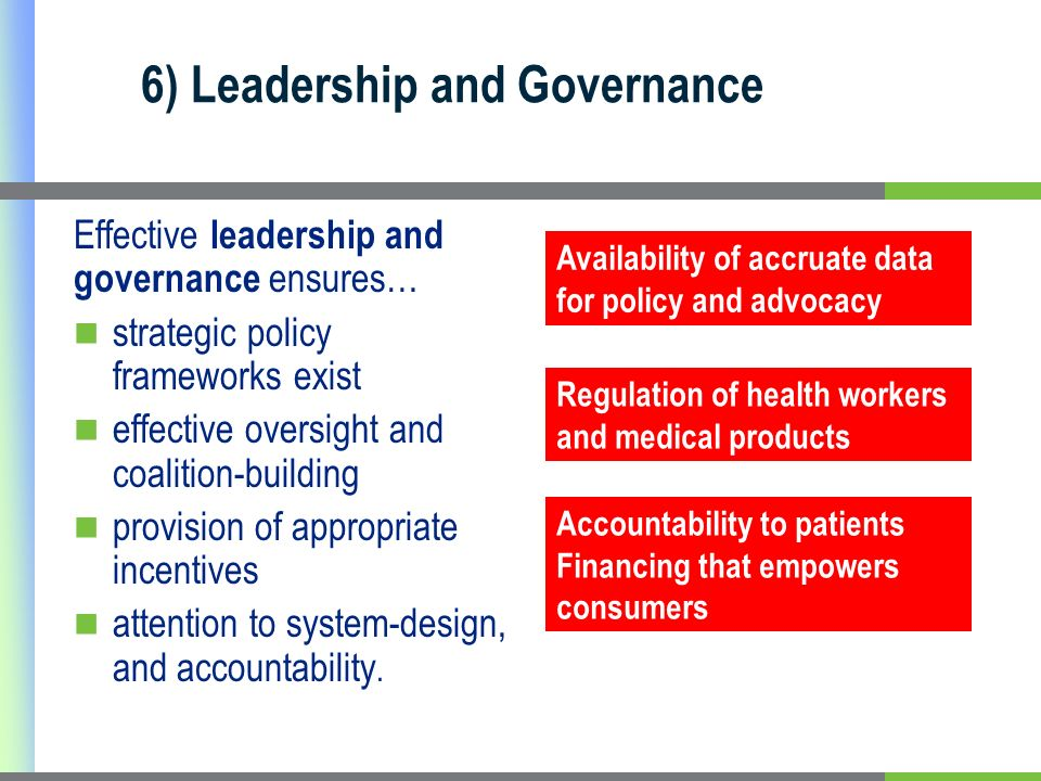 6) Leadership and Governance