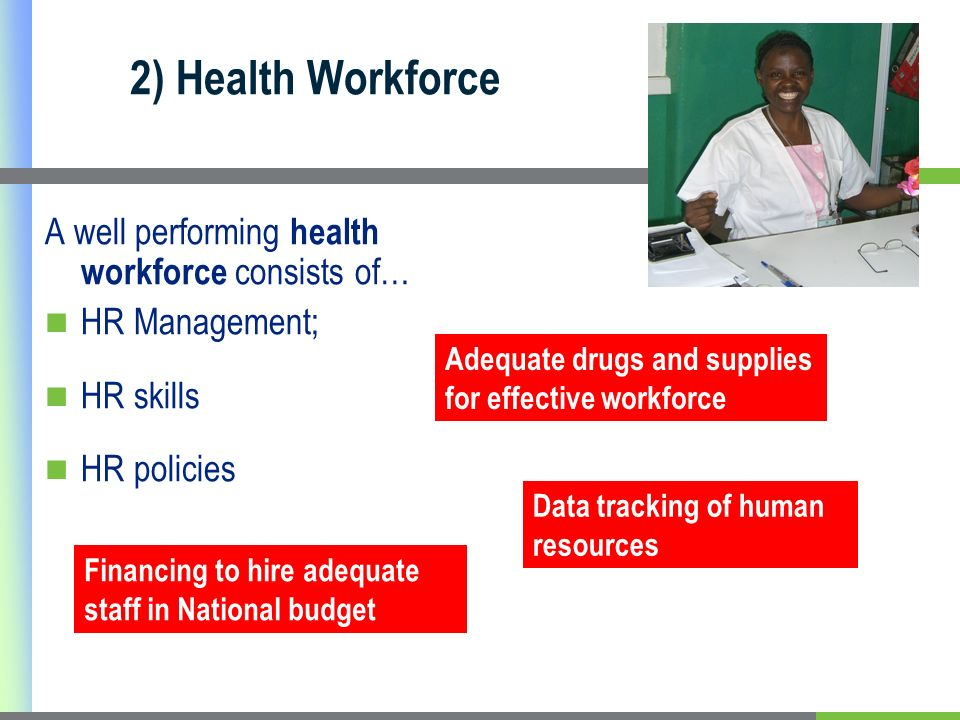 2) Health Workforce A well performing health workforce consists of…