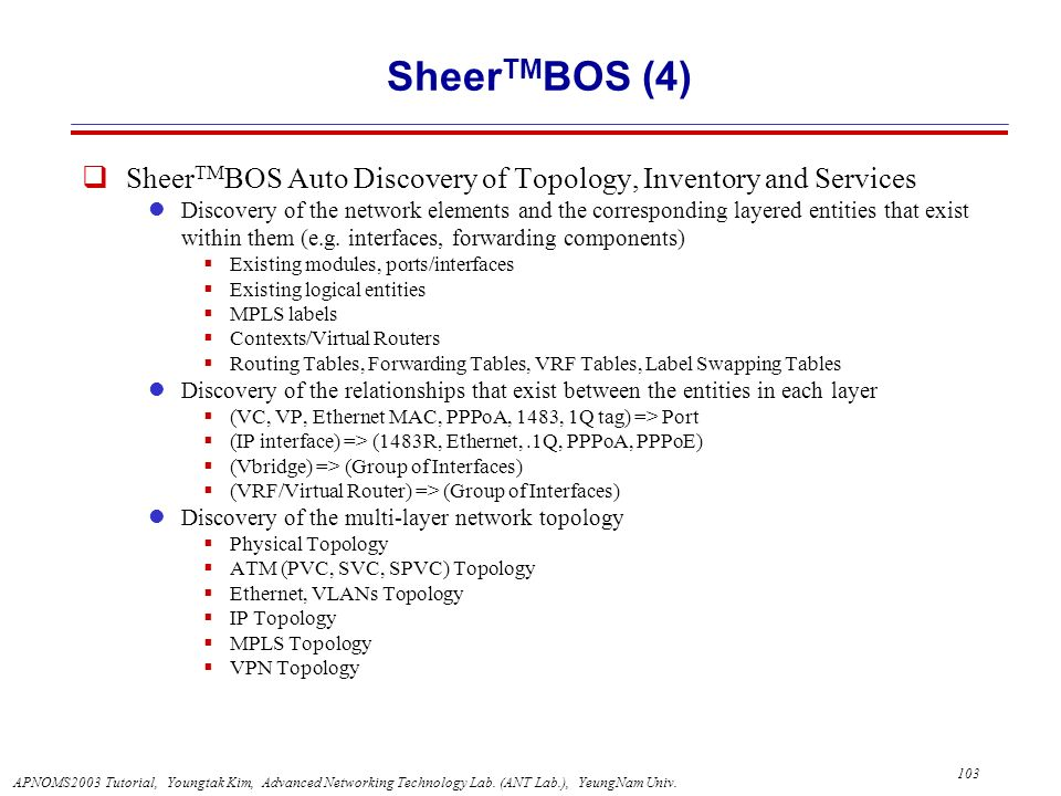 SheerTMBOS (4) SheerTMBOS Auto Discovery of Topology, Inventory and Services.