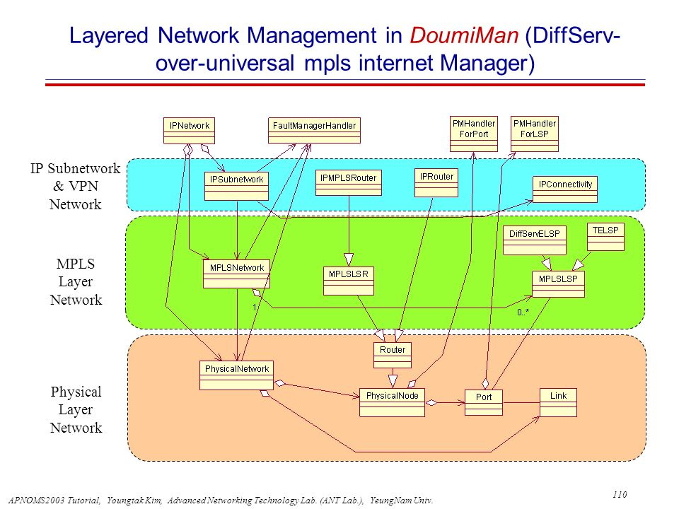 Layered Network Management in DoumiMan (DiffServ-over-universal mpls internet Manager)