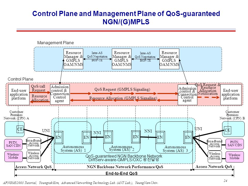 Control Plane and Management Plane of QoS-guaranteed NGN/(G)MPLS