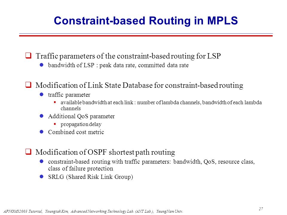 Constraint-based Routing in MPLS