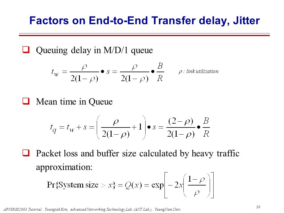 Factors on End-to-End Transfer delay, Jitter