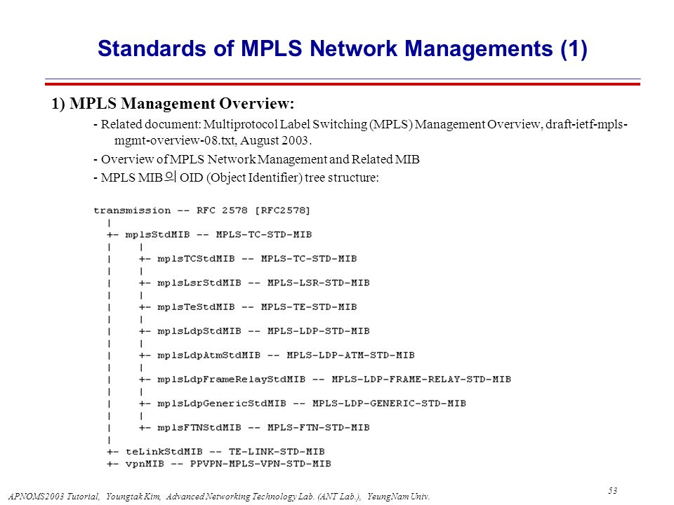 Standards of MPLS Network Managements (1)