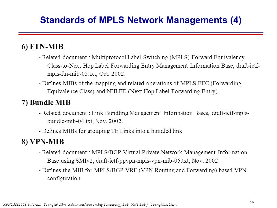 Standards of MPLS Network Managements (4)