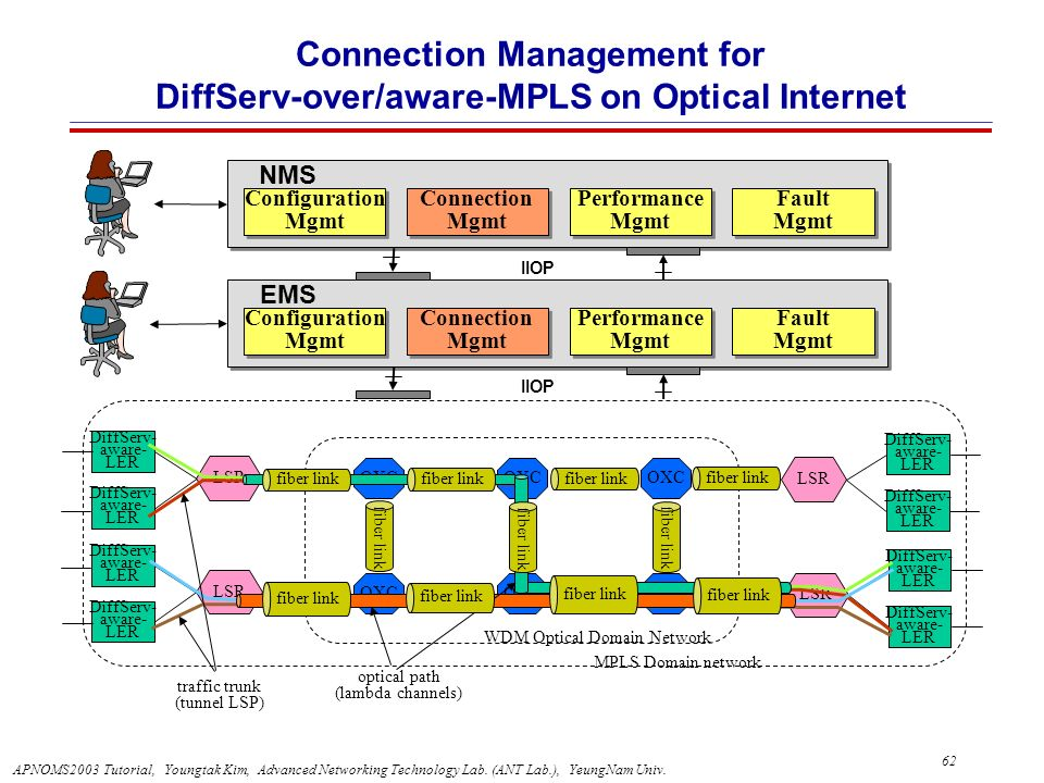 Connection Management for DiffServ-over/aware-MPLS on Optical Internet