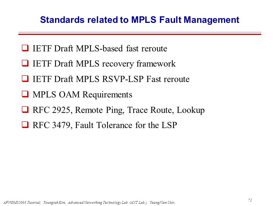 Standards related to MPLS Fault Management