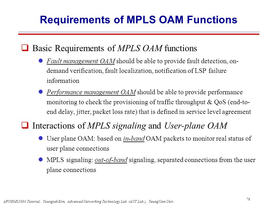 Requirements of MPLS OAM Functions