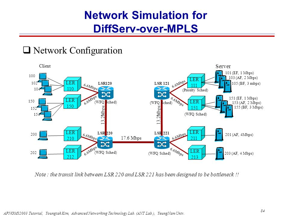 Network Simulation for DiffServ-over-MPLS