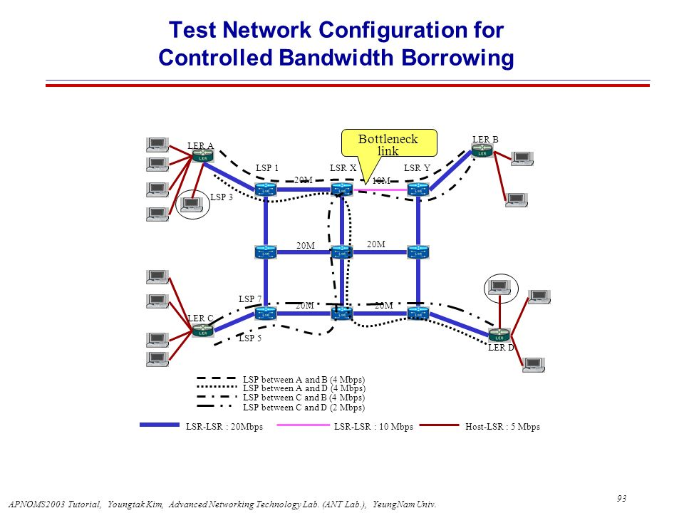 Test Network Configuration for Controlled Bandwidth Borrowing