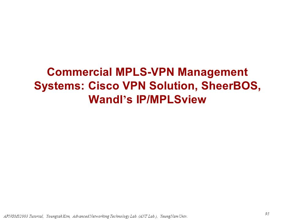 Commercial MPLS-VPN Management Systems: Cisco VPN Solution, SheerBOS, Wandl's IP/MPLSview