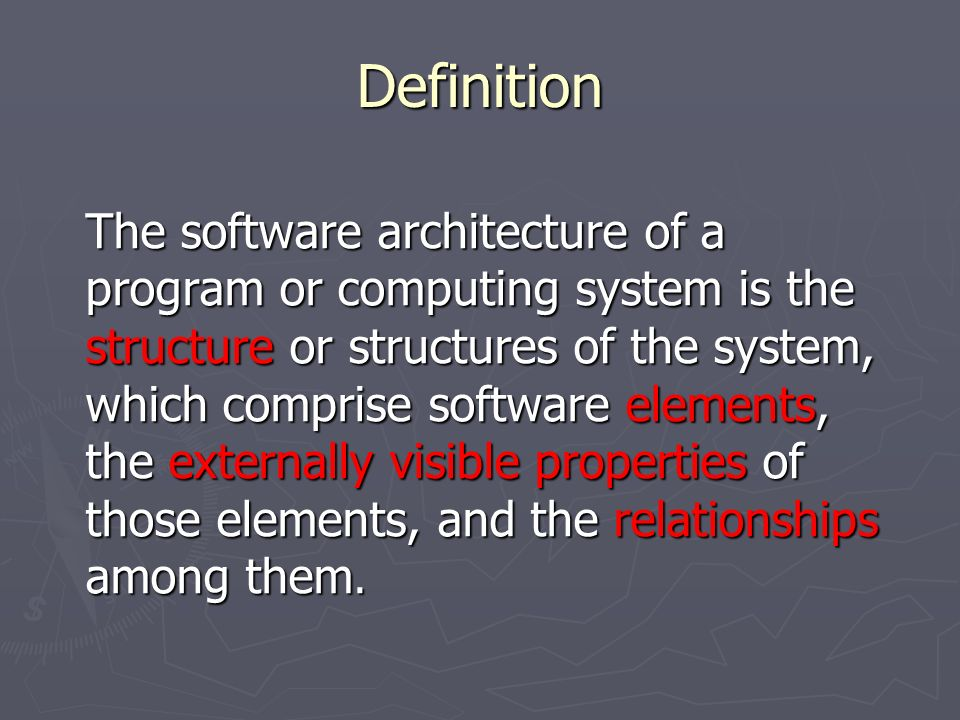 An introduction to software architecture ppt video for Anarchitecture definition
