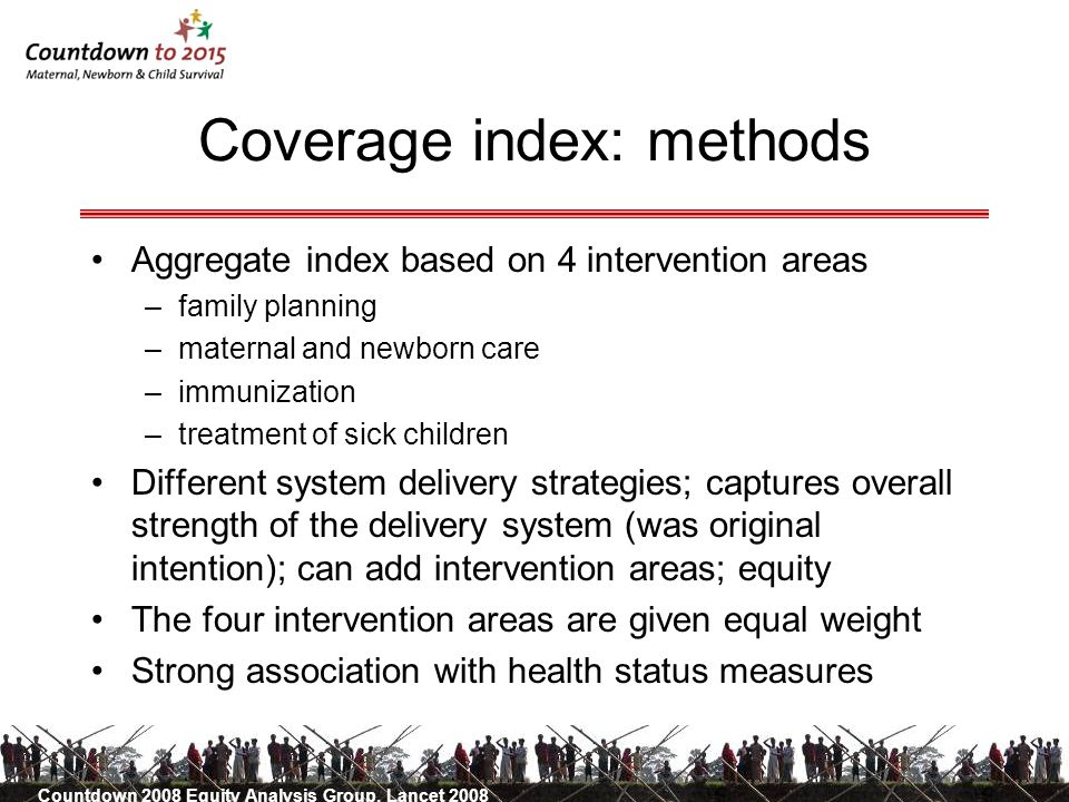 Coverage index: methods