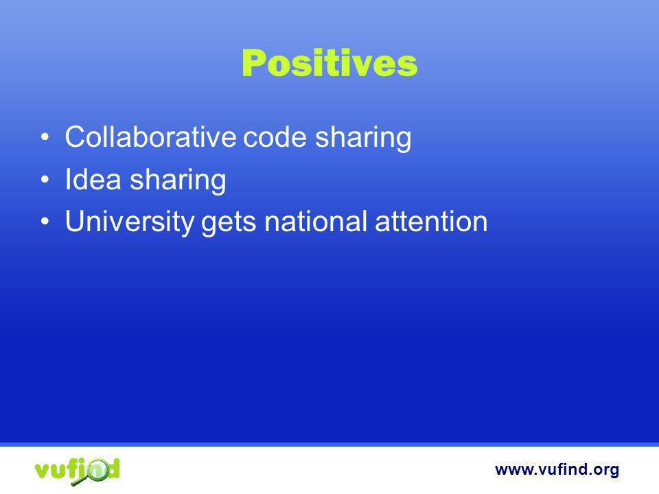 Positives Collaborative code sharing Idea sharing