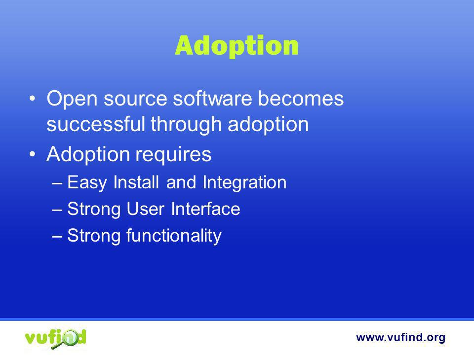 Adoption Open source software becomes successful through adoption