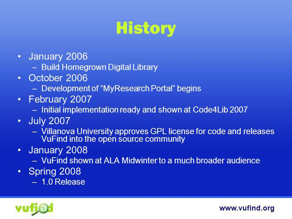 History January 2006 October 2006 February 2007 July 2007 January 2008