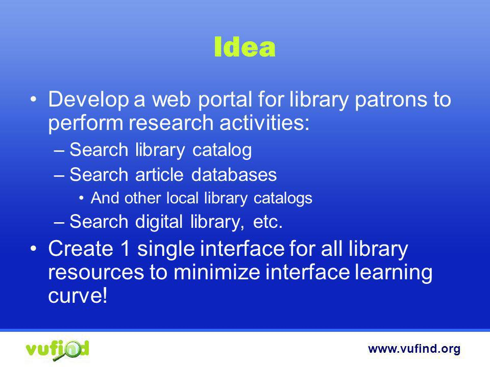 Idea Develop a web portal for library patrons to perform research activities: Search library catalog.