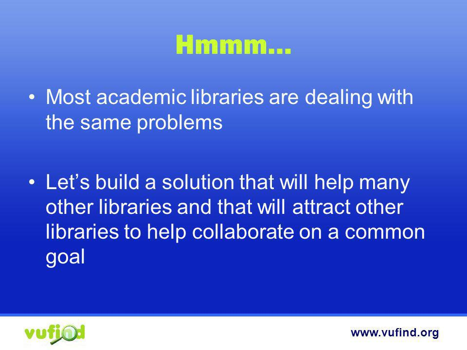 Hmmm… Most academic libraries are dealing with the same problems