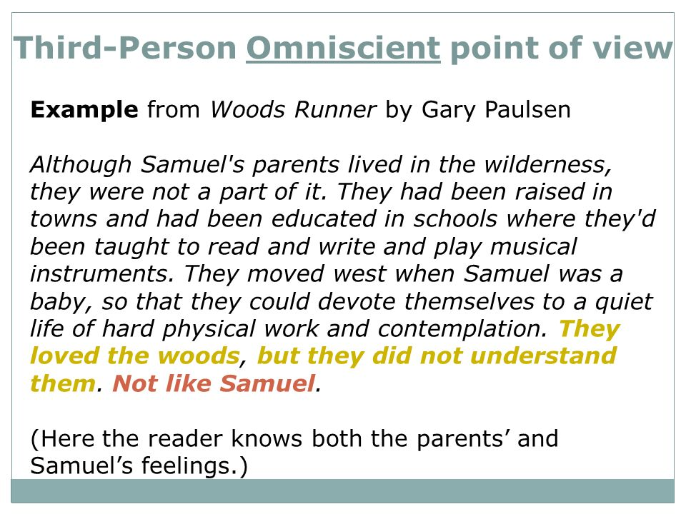 3rd person omniscient exles narration point of view ppt ...