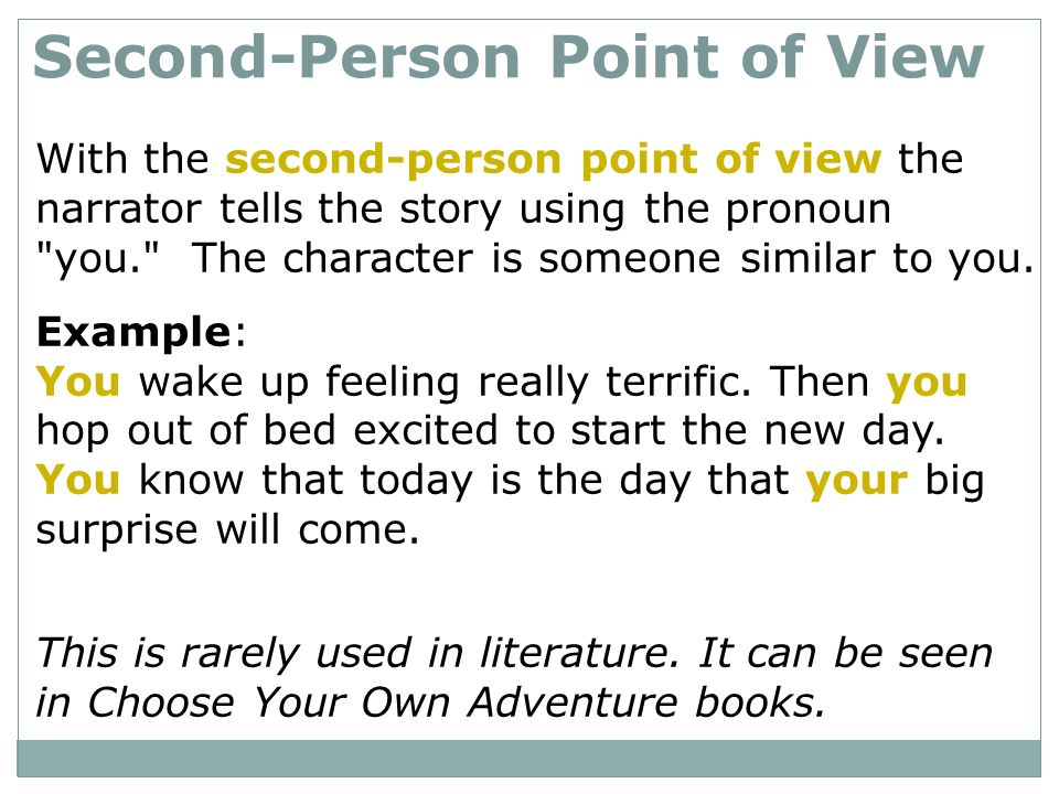 second person point of view essay Essay editing essay proofreading  first, second, and third person: how to recognize and use narrative voice  in the second-person point of view, the subjective .