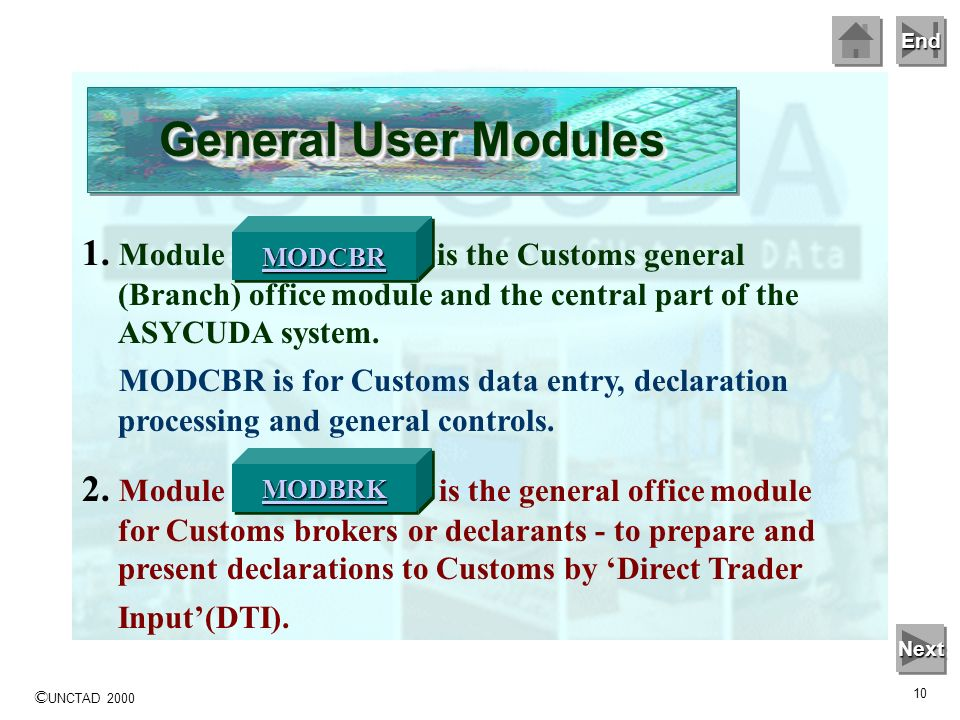 General User Modules MODCBR. 1. Module 'MODCBR' is the Customs general (Branch) office module and the central part of the ASYCUDA system.