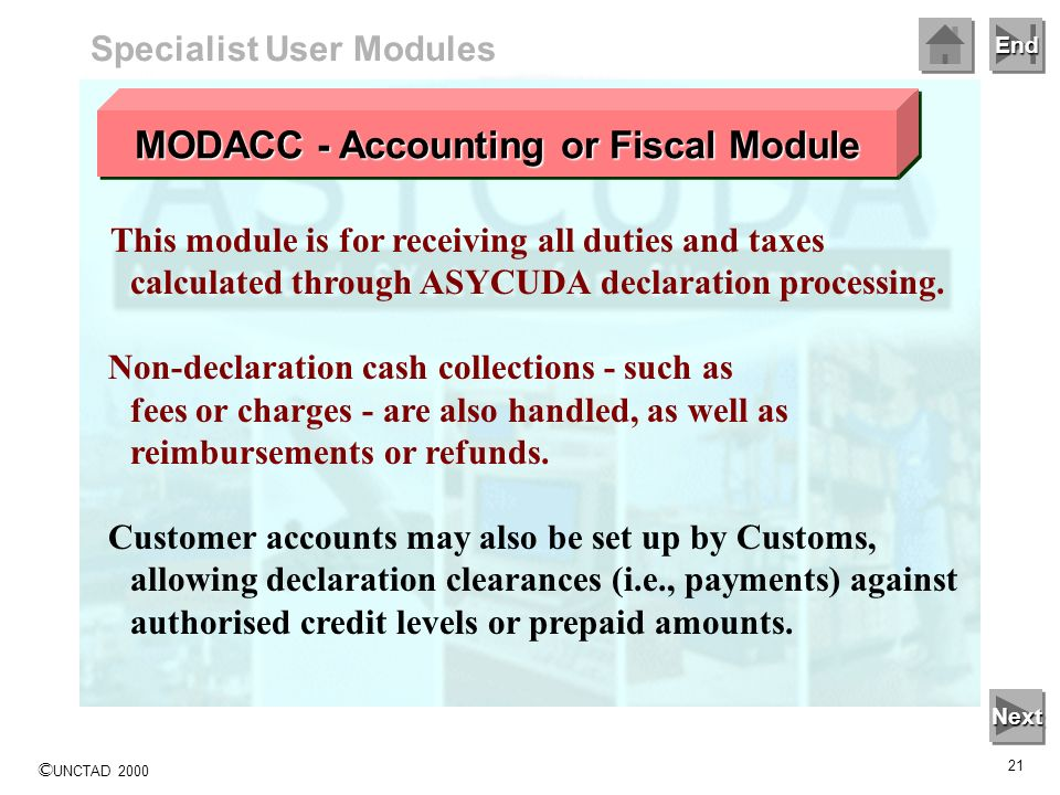 MODACC - Accounting or Fiscal Module