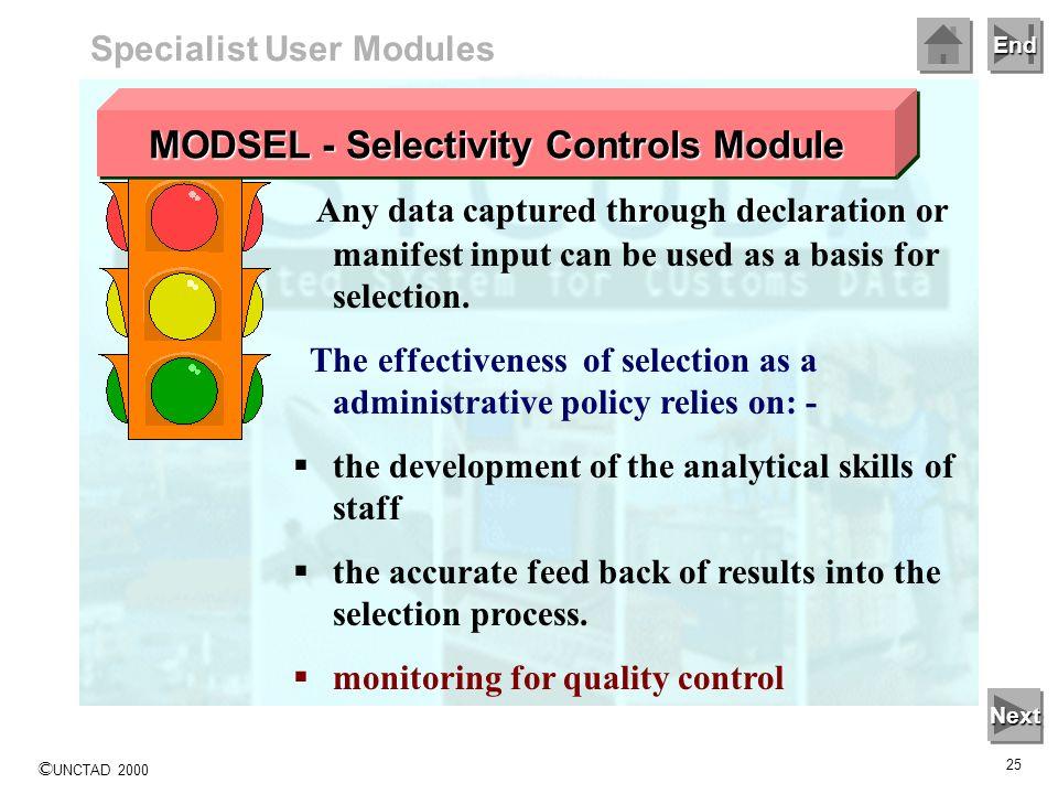 MODSEL - Selectivity Controls Module