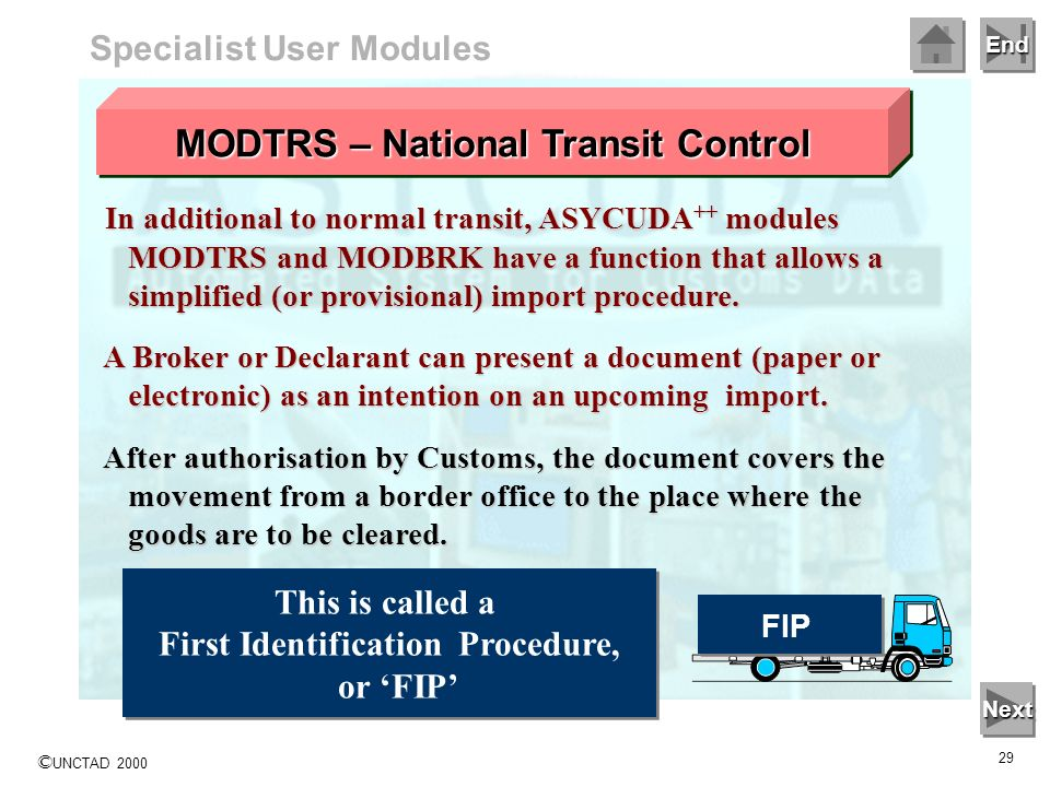 MODTRS – National Transit Control First Identification Procedure,