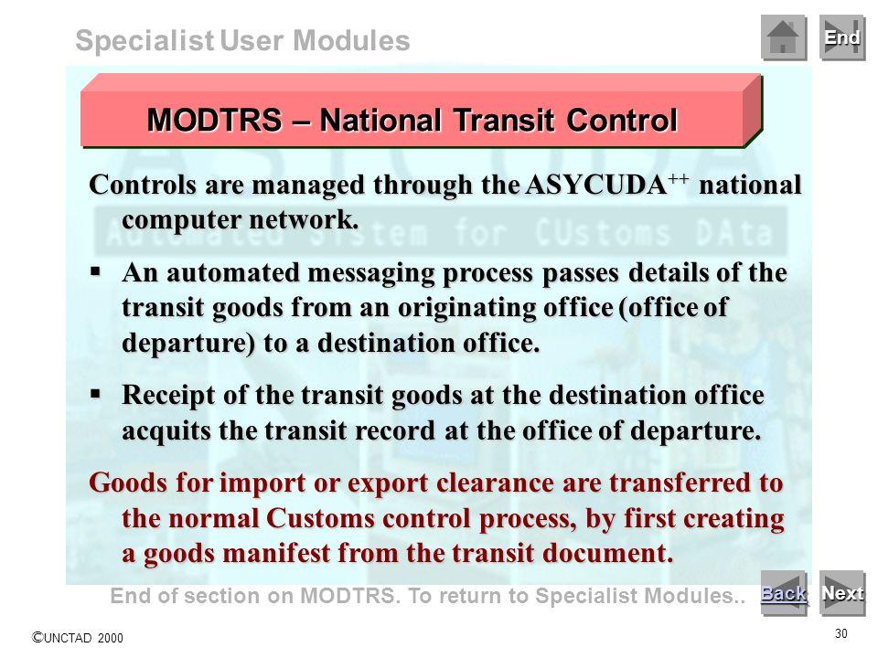 MODTRS – National Transit Control