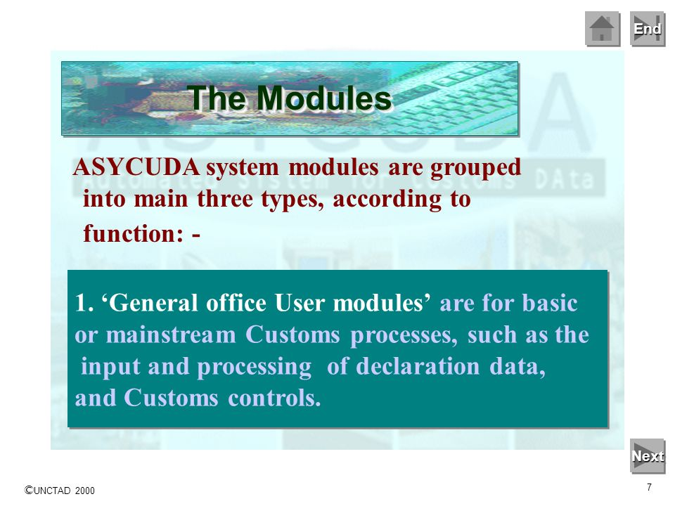 The Modules ASYCUDA system modules are grouped into main three types, according to function: - 1. 'General office User modules' are for basic.