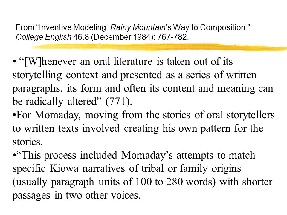 a study of the kiowa tribe and scott momadays the way to rainy mountain Welcome to the litcharts study guide on n scott momadays the way to rainy mountain created by as n scott momaday is a kiowa novelist study guide ,pocket.