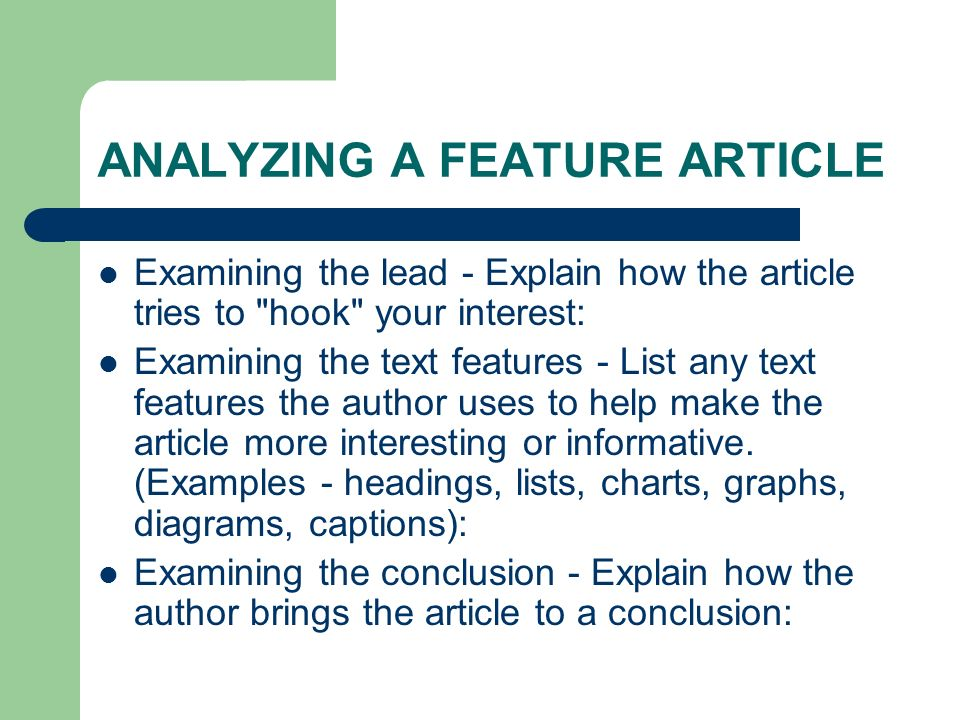 how to write a feature article lead