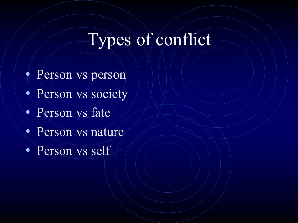 Types of conflict Person vs person Person vs society Person vs fate