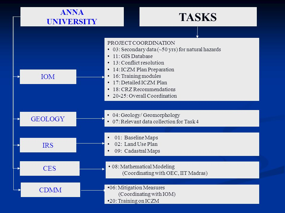 TASKS ANNA UNIVERSITY IOM GEOLOGY IRS CES CDMM PROJECT COORDINATION