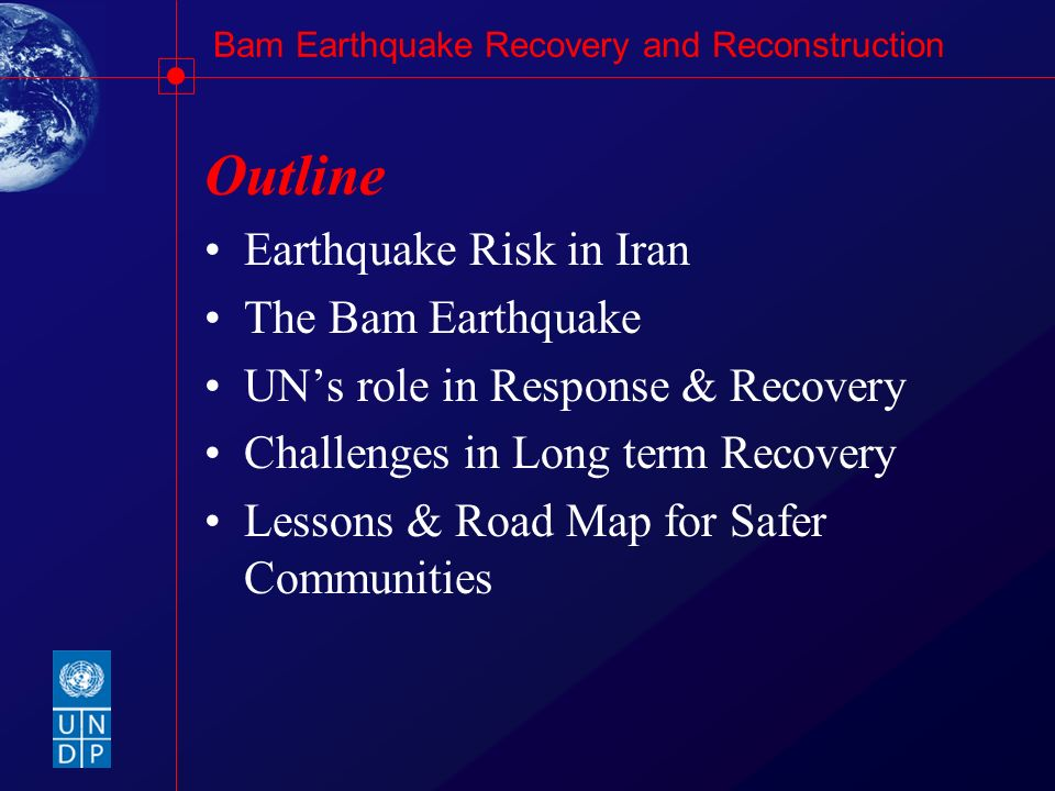 Outline Earthquake Risk in Iran The Bam Earthquake