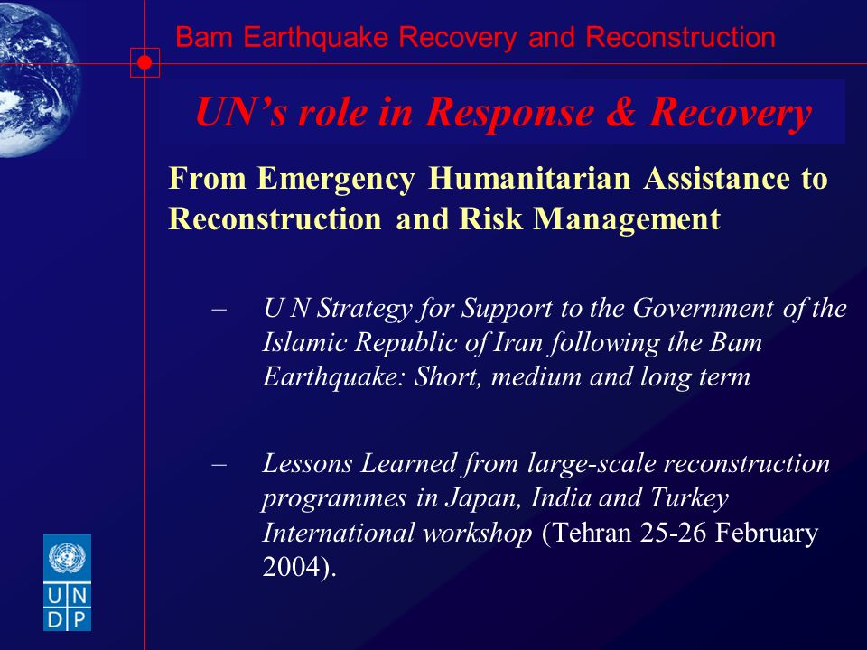 UN's role in Response & Recovery