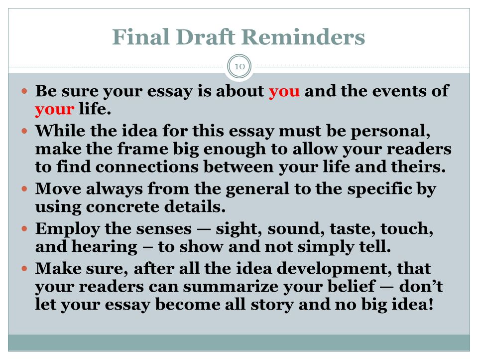 an event that shaped your life essay The college essay gives you a chance to reveal yourself in a more personal way than sat scores and lists of extracurricular activities many college applications ask you to write about a significant experience in your life this essay format allows you to write about almost anything important to you .