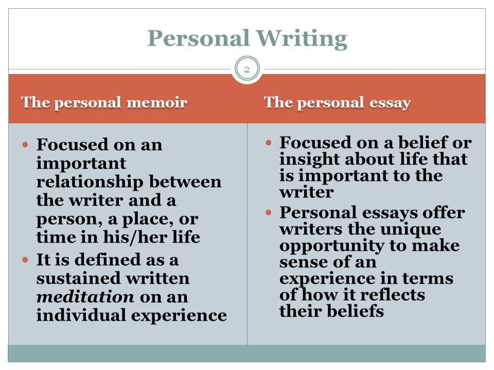 Personal Writing: The Memoir and the Personal Essay - ppt video ...