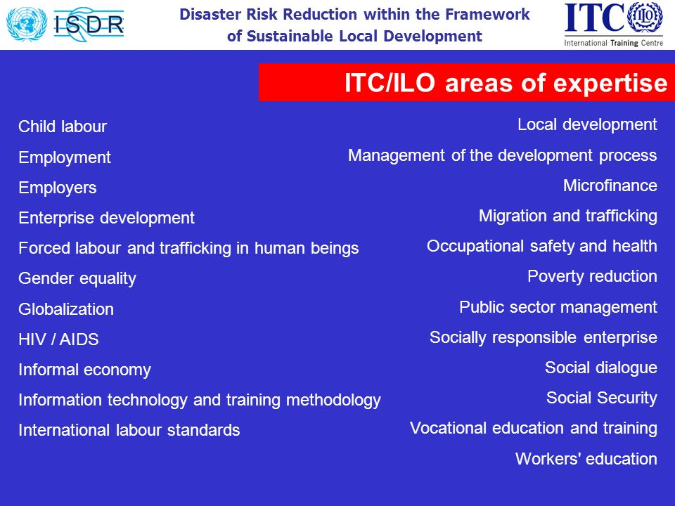 ITC/ILO areas of expertise