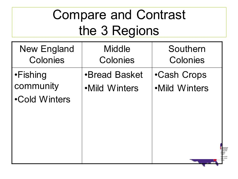 compare and contrast new england and the southern colonies Compare and contrast the differences between the northern and southern colonies in the 17th century colonies essay (2009, march 30) in writeworkcom retrieved 04.