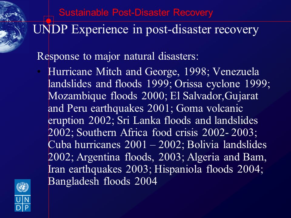 UNDP Experience in post-disaster recovery