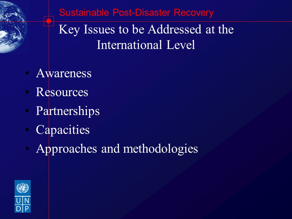 Key Issues to be Addressed at the International Level