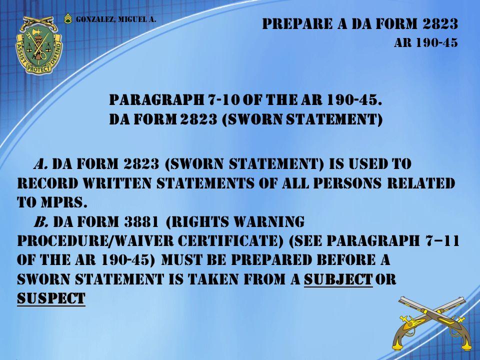 Prepare a DA Form 2823 AR Prepare a DA Form 2823 AR - ppt download