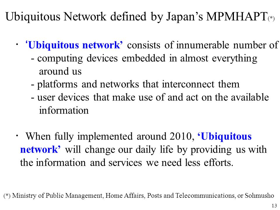 Ubiquitous Network defined by Japan's MPMHAPT(*)