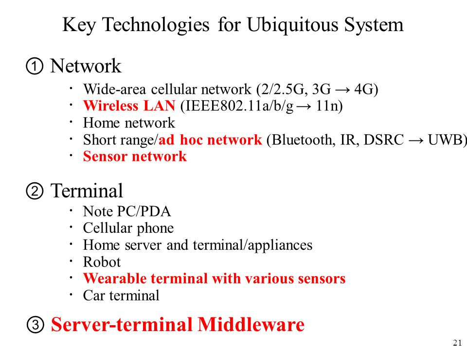 Key Technologies for Ubiquitous System