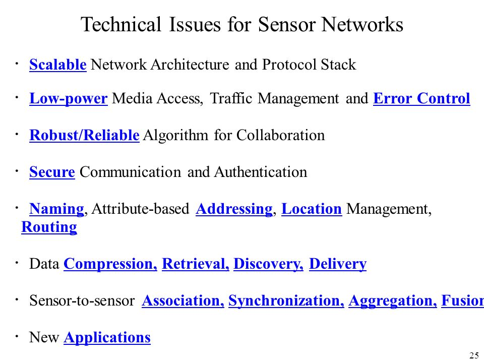 Technical Issues for Sensor Networks