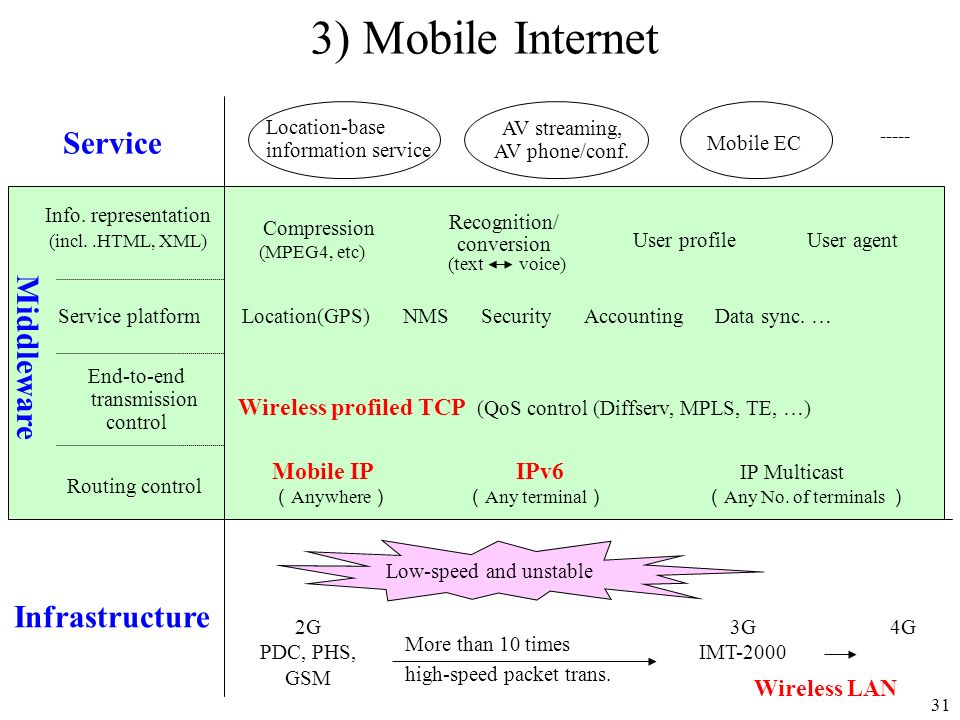 3) Mobile Internet Service Middleware Infrastructure
