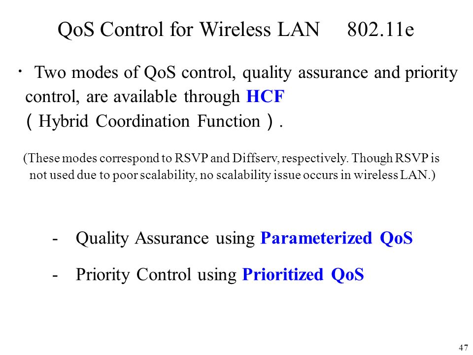 QoS Control for Wireless LAN 802.11e