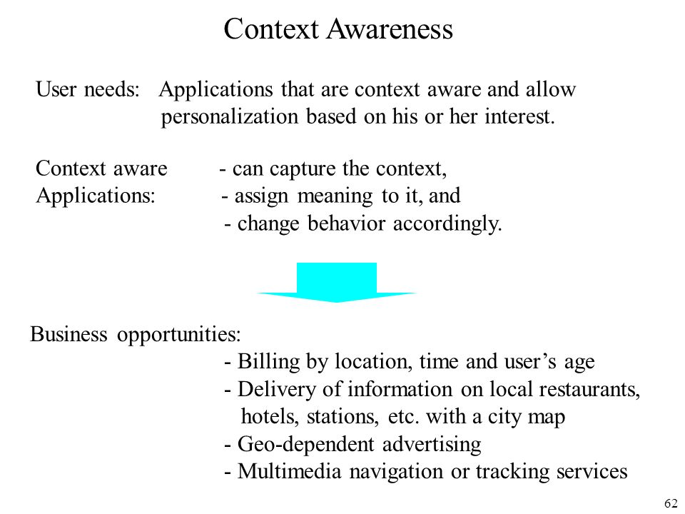 Context Awareness User needs: Applications that are context aware and allow. personalization based on his or her interest.